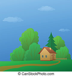 House in forest - Vector cartoon, summer landscape: country...