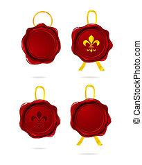 emblem pressed stamp set red color