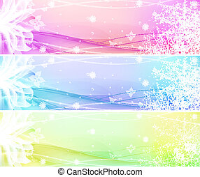 Flower Banner Set - Flower Banner with waves and lights EPS