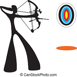 Shadow man playing archery game - Shadow man playing archery...