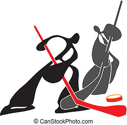 Shadow man playing hockey