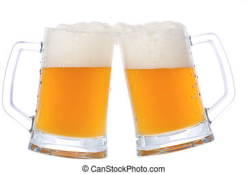 two mugs of beer on white background