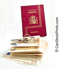 Spanish Passport, keys, money - Spanish, Passport, keys,...