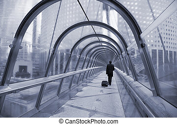 Gangway la Defense, Paris - Business man with trolley case...