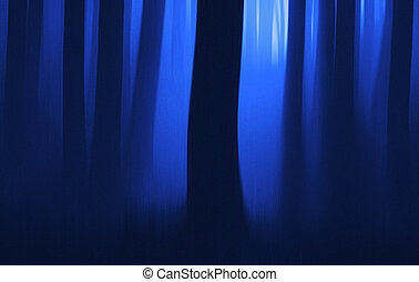 Blue hour in the wood - motion blur. Film grain added.