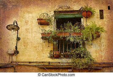 Tiny balcony Lucca - Artistic work of my own in retro style...