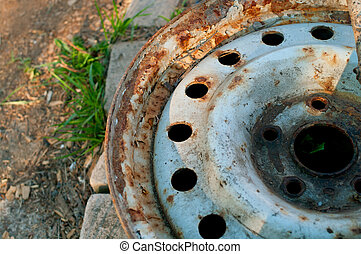 Old automobile wheel