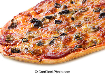 pizza with salami and vegetables