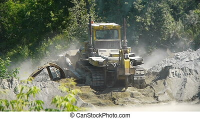 Big bulldozer at the building site