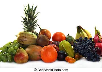 Fruit - different types of fruit on a white background