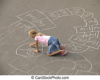 Hopscotch - Little girl playing with her selfdesigned...