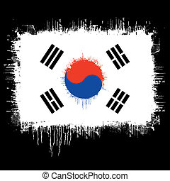 flag of South korea - grunge illustration of flag of South...