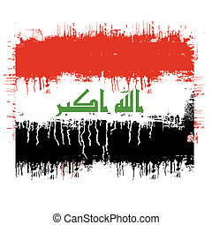 flag of iraq - grunge illustration of flag of iraq on white...