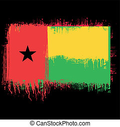 flag of Guinea Bissau - grunge illustration of flag of...