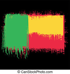 flag of benin - grunge illustration of flag of benin on...
