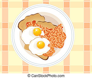 fried eggs on toast - an illustration of a plate of fried...
