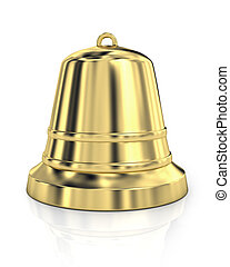Shiny golden bell isolated on white background