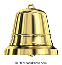 Shiny golden bell,frontal view - Shiny golden bell isolated...