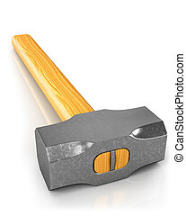 Metal sledge hammer isolated, closeup - Metal sledge hammer...