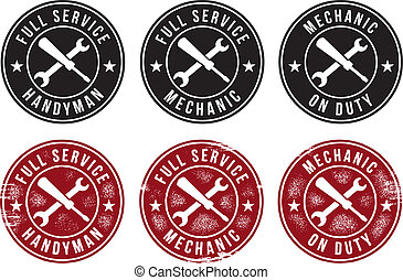 Mechanic Handyman Service Stamps - A selection of...