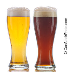 Glass of Pilsner and Dark Ale - Two Glasses of Beer a...