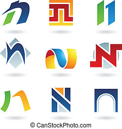Abstract icons for letter N - Vector illustration of...