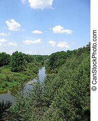 wild nature landscape with river, forest and clouds on the sky i