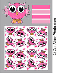 seamless owl pattern - three different patterns