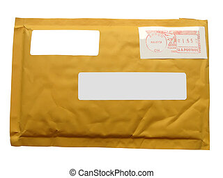 one yellow mail package transit envelope from recycling...