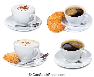 set with coffee cups - set with cups of coffee on white...