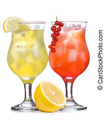 alcohol cocktail with lemon and berries on white background