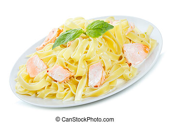 pasta with salmon on white background