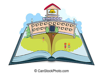 School Book - illustration of kids going to school on open...