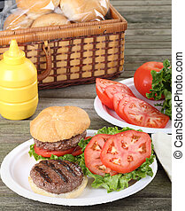 Grilled Hamburger Picnic - Grilled hamburger with lettuce...