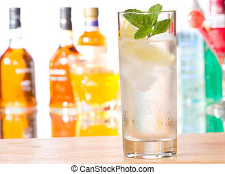 gin cocktail - cocktail with gin and lemon with ice