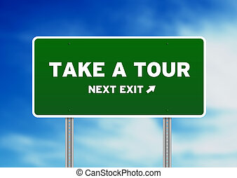 Take a Tour Highway Sign - High resolution graphic of a take...