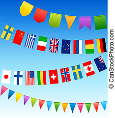 bunting flags and country flags on a blue sky. Vector...