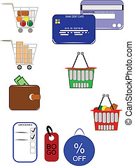 shoppers icons - icons for shoppers including food baskets...