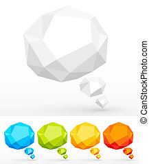 Rumpled colorful bubbles for speech. Vector illustration.