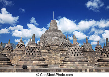 Borobudur Temple Indonesia - Borobudur temple located close...