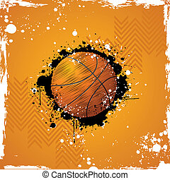 Basketball - illustration of basketball on abstract grungy...