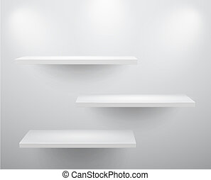 3d isolated Empty shelves for exhibit