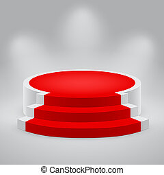 3d empty white podium with red carpet