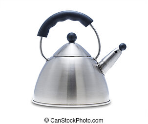 Tea kettle - Modern tea kettle on white, isolated with...