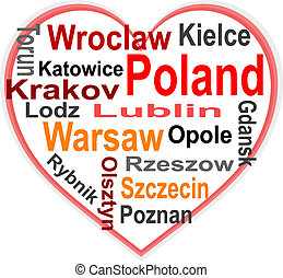 Poland Heart and words cloud with larger cities