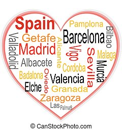 Spain Heart and words cloud with larger cities