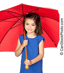 Brunette little girl with a red umbrella isolated on a over...