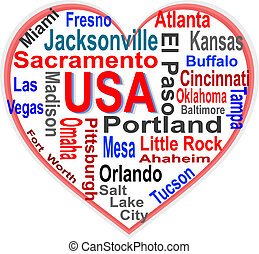 USA Heart words cloud with larger american cities - USA in...