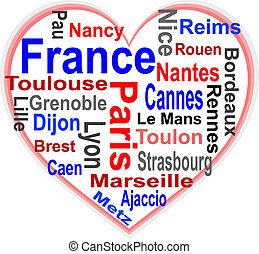 France Heart and words cloud with larger cities - France in...