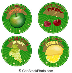 Set of fruit labels